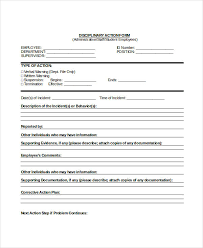 Disaplinary Forms Employee Disciplinary Form Template Employee Discipline Form 6 Free