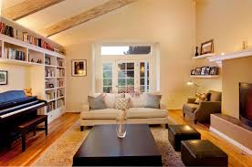Vaulted Ceiling Living Room Built In Around Piano Basement Pinterest Warm Small Living