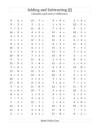 Horizontal Subtraction Facts Worksheet The 24 Horizontal AdditionSubtraction Questions Facts 24 to 24 J 1