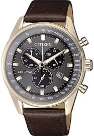 men s citizen eco drive chronograph leather strap watch at2393 17h loading zoom