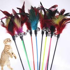 1pcs <b>Hot Sale</b> Cat Toys Make A Cat Stick <b>Feather</b> With Small Bell ...