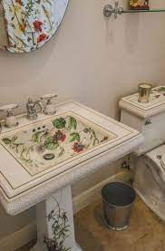 The Pool Bath Off The Kitchen Sports A Lovely Matching Kohler Porcelain Sink Mirror And Commode Hand Painted Wit Antique Bathroom Sink Sink Design Toilet Plan