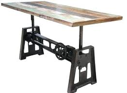 adjustable c table. Adjustable Height C Table Industrial Coffee Natural Reclaimed Intended For Dining