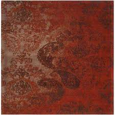 classic vintage rust brown 6 ft x 6 ft square area rug