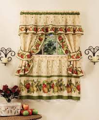 Red Kitchen Curtain Sets Amazoncom 36 Apple Orchard Cottage Set Home Kitchen