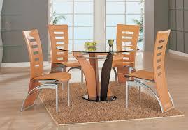 modern natural wood veneer glass dining table set
