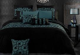 super king size dark teal black flocking quilt cover set 3pcs