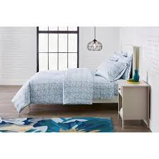brushed microfiber 3 piece full queen duvet cover set in stensil washed denim