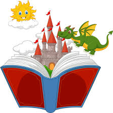 story book with cartoon castle dragon and sun stock vector ilration of idea