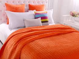 orange patchwork quilted coverlet bedspreads set queen king sizethrow blanket
