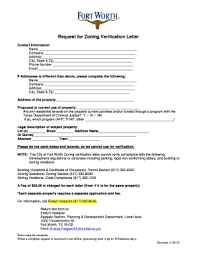 Fillable Online Fortworthtexas Request For Zoning Verification