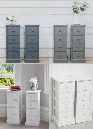 4 drawer pair slim tall bedside tables white grey graphite bedroom storage unit