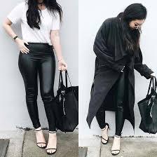 black leather leggings tee trench coat high heels