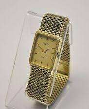longines quartz battery solid gold case wristwatches stunning men s longines 14k yellow solid gold mesh bracelet quartz watch 67g