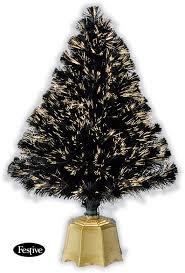 National Tree Company 4 Ft Fiber Optic Fireworks Evergreen Black Fiber Optic Christmas Tree