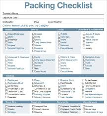 Packing List For Vacation Template Sample Travel Packing List Magdalene Project Org