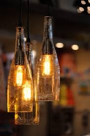 Atomic Lounge - Recycled Wine Bottle Hanging Lamp with Edison bulb