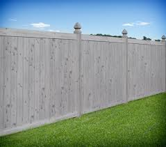 Gray Wood Grain PVC Vinyl Privacy Fence by Illusions Vinyl Fence