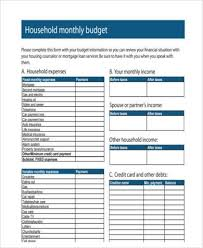 sample household budget sample household budget forms 9 free documents in word pdf