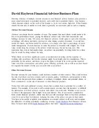 david haybron financial advisor business plan
