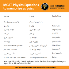 mcat prep on twitter mcat2017 physics equations to memorize as