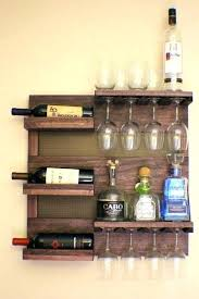wall mounted plan rack wine glass holder rustic dark cherry stained with shelves and throughout small wall mounted plan rack