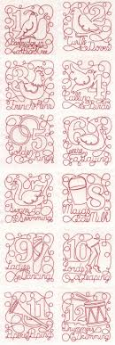 Redwork Machine Embroidery Designs Free Embroidery Machine Designs 12 Days Of Christmas Free