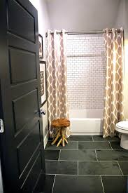 another great hall small bathroom decor idea slate floor subway tile shower surround w dark grout double shower curtain