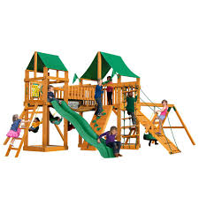 pioneer peak wooden playset with green vinyl canopy and tire swing