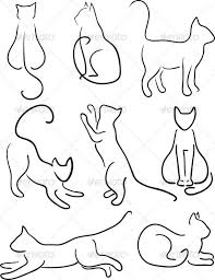 cat drawing outline.  Outline How To Draw Simple Cat Silhouette  Silhouette Of Cats Cat Design Set Line  ArtVector Illustration Fully  For Drawing Outline O
