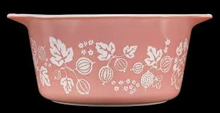 Vintage Pyrex Gooseberry Design Gooseberry White On Pink Pyrex