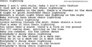 lighting cords. Bruce Springsteen Song: Chain Lightning Lyrics Lighting Cords S
