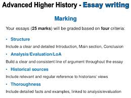 marking instructions advanced higher history essay