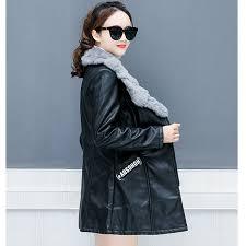 pu leather jacket women winter warm coat fur