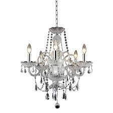 elegant lighting chandelier 5 light royal crystal in chrome maria theresa