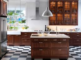 Marvelous Dark Brown Polished Cool Ikea Kitchen Cabinets With ...