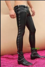 europe and the united states motorcycle men s personality leather pants catwalk men s fashion zipper new tight leather pant