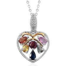 multi sapphire 14k yg and platinum over sterling silver heart pendant with chain 20 in tgw 1 600 cts lc