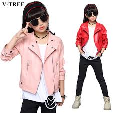 v tree girls jacket fashion autumn imitation leather jackets for teenage girl spring children outerwear kids