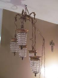 vintage holywood regency waterfall crystal chandelier swag lamp five lanterns 1787581802