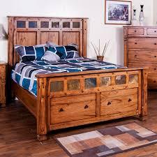 Sunny Designs 2322RO-Q Sedona Queen Panel Bed in Rustic Oak with Storage