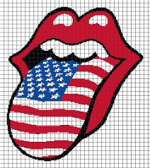 Rolling Stones Tongue American Flag Chart Graph And Row By Row Written Crochet Instructions 01