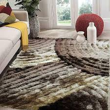 brown fuzzy gy modern contemporary 3d 8 x10 feet area rug carpet