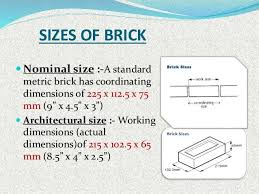 brick size sizes of brick nominal size a standard metric brick has