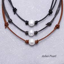 aobei pearl handmade pearl choker necklace made of freshwater pearl and genuine leather cord adjustable pearl necklace ets s691