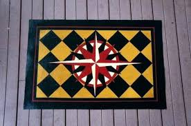 compass rose hand painted canvas rug floorcloth black gold compass rose rug compass rose throw
