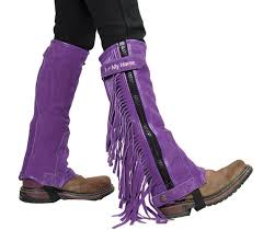 childrens suede leather multi purpose i love my horse half chaps with fringes for horseback riding or motorcycle use