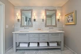 gray bathroom designs. Antique Gray Bathroom Vanity Under Two Framed Mirrors And Small Picture In Mosaic Wall Tiles Designs
