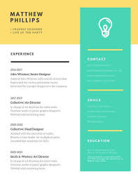 Modern Graphic Resume Template Yellow And Green Modern Creative Resume Templates By Canva