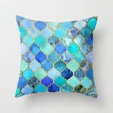 cobalt blue throw pillows. Modren Blue Cobalt Blue Aqua U0026 Gold Decorative Moroccan Tile Pattern Throw Pillow In Blue Pillows B
